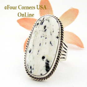 Size 9 1/2 White Turquoise Ring Navajo Artisan Tony Garcia NR-1509 Four Corners USA OnLine Native American Jewelry