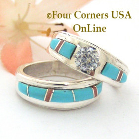 Turquoise Bridal Engagement Ring Sets Navajo Wedding Rings