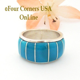 Size 9 1/2 Blue Turquoise Inlay Wide Band Ring Native American Ella Cowboy NAR-1861 Four Corners USA OnLine Navajo Silver Jewelry