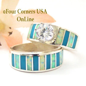 Size 5 1/2 Turquoise Inlay Opal Wedding Engagement Ring Set Navajo Ella Cowboy WS-1604 Four Corners USA OnLine Navajo Silver Jewelry