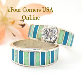 Size 6 Turquoise Inlay Opal Wedding Engagement Ring Set Navajo Ella Cowboy WS-1605 Four Corners USA OnLine Navajo Silver Jewelry