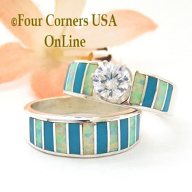 Size 8 Turquoise Inlay Opal Wedding Engagement Ring Set Navajo Ella Cowboy WS-1609 Four Corners USA OnLine Navajo Silver Jewelry