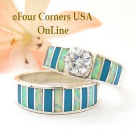 Size 8 1/2 Turquoise Inlay Opal Wedding Engagement Ring Set Navajo Ella Cowboy WS-1610 Four Corners USA OnLine Navajo Silver Jewelry