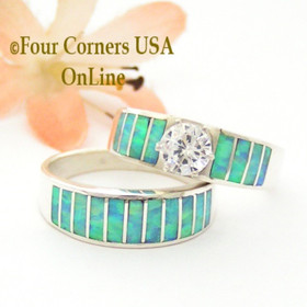 Size 10 Inlay Light Blue Fire Opal Bridal Wedding Engagement Ring Set Size with Round Cubic Zirconia set in Sterling Silver WS-1616 Navajo Artisan Ella Cowboy Four Corners USA OnLine Navajo Silver Jewelry