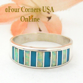 Size 10 Turquoise and White Fire Opal Inlay Ring Native American Ella Cowboy WB-1691 Four Corners USA OnLine Navajo Silver Jewelry