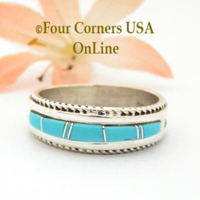 Size 10 Turquoise Inlay Band Ring Navajo Artisan Wilbert Muskett Jr Four Corners USA OnLine Native American Jewelry
