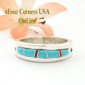 Size 9 1/2 Turquoise Red Coral Inlay Ring Native American Wilbert Muskett Jr WB-1712  Four Corners USA OnLine Navajo Silver Jewelry