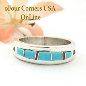 Size 10 Turquoise Red Coral Inlay Ring Native American Wilbert Muskett Jr WB-1713  Four Corners USA OnLine Navajo Silver Jewelry