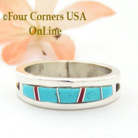 Size 10 1/2 Turquoise Red Coral Inlay Ring Native American Wilbert Muskett Jr WB-1714 Four Corners USA OnLine Navajo Silver Jewelry