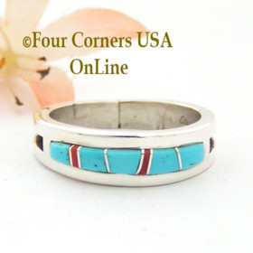 Size 11 Turquoise Red Coral Inlay Ring Native American Wilbert Muskett Jr WB-1715 Four Corners USA OnLine Navajo Silver Jewelry
