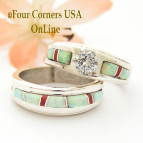 Size 7 White Fire Opal and Coral Engagement Bridal Wedding Ring Set Native American Wilbert Muskett Jr WS-1631 Four Corners USA OnLine Navajo Silver Jewelry