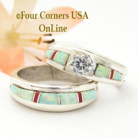 Size 8 White Fire Opal and Coral Engagement Bridal Wedding Ring Set Native American Wilbert Muskett Jr WS-1633 Four Corners USA OnLine Navajo Silver Jewelry
