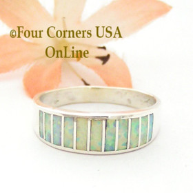 Size 10 1/2 White Fire Opal Inlay Ring Native American Ella Cowboy WB-1720 Four Corners USA OnLine Navajo Silver Jewelry