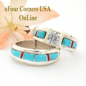 Size 6 Turquoise Red Coral Engagement Bridal Wedding Ring Set Native American Wilbert Muskett Jr WS-1643  Four Corners USA OnLine Navajo Silver Jewelry