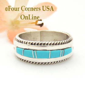 Size 10 1/2 Turquoise Inlay Rope Band Ring Navajo Wilbert Muskett Jr WB-1721 Four Corners USA OnLine Native American Jewelry