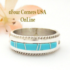 Size 11 Turquoise Inlay Rope Band Ring Navajo Wilbert Muskett Jr WB-1723 Four Corners USA OnLine Native American Jewelry