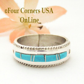 11 1/2 Turquoise with twisted wire rope accent Inlay Ring Native American Wilbert Muskett Jr WB-1724 Four Corners USA OnLine Native American Jewelry