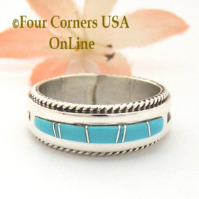 Size 11 1/2 Turquoise with twisted wire rope accent Inlay Ring Native American Wilbert Muskett Jr WB-1725 Four Corners USA OnLine Native American Jewelry