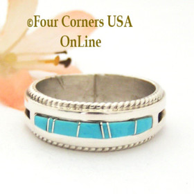 Size 12 1/2 Turquoise with twisted wire rope accent Inlay Ring Native American Wilbert Muskett Jr WB-1728 Four Corners USA OnLine Native American Jewelry