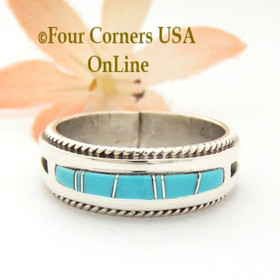Size 12 1/2 Turquoise with twisted wire rope accent Inlay Ring Native American Wilbert Muskett Jr WB-1729 Four Corners USA OnLine Native American Jewelry
