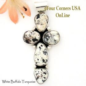White Buffalo Turquoise Cross Navajo Artisan Lyle Piaso NACR-1423 Four Corners USA OnLine Native American Silver Jewelry