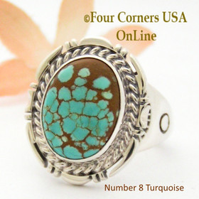 Size 12 Number 8 Turquoise Stone Ring Navajo Artisan Freddy Charley NAR-1868 Four Corners USA OnLine Native American Jewelry