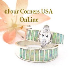 Size 9 White Fire Opal Wedding Engagement Ring Set Ella Cowboy WS-1654 Four Corners USA OnLine Native American Navajo Silver Jewelry