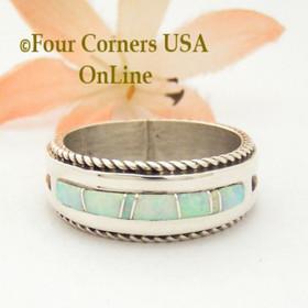Size 10 White Fire Opal Inlay Rope Band Ring Navajo Wilbert Muskett Jr WB-1746 Four Corners USA OnLine Native American Silver Jewelry