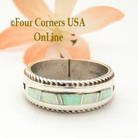 Size 10 1/2 White Fire Opal Inlay Rope Band Ring Navajo Wilbert Muskett Jr WB-1747 Four Corners USA OnLine Native American Silver Jewelry