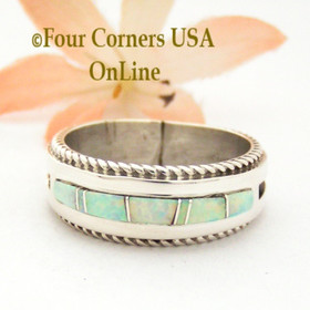 Size 11 White Fire Opal Inlay Rope Band Ring Navajo Wilbert Muskett Jr WB-1748 Four Corners USA OnLine Native American Silver Jewelry