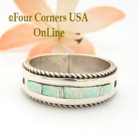 Size 12 White Fire Opal Inlay Rope Band Ring Navajo Wilbert Muskett Jr WB-1750 Four Corners USA OnLine Native American Silver Jewelry