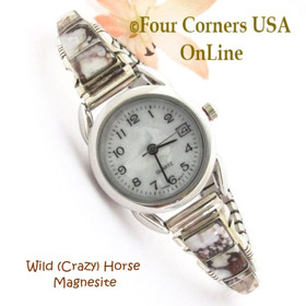 Women's Wild Horse Inlay Sterling Watch MOP Face Navajo Artisan Steve Francisco NAW-1449 Four Corners USA OnLine Native American Silver Jewelry