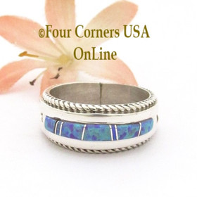 Size 10 Mens Purple Fire Opal Inlay Rope Band Ring Navajo Wilbert Muskett Jr WB-1767 Four Corners USA OnLine Native American Jewelry