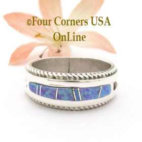 Size 12 Fiery Purple Fire Opal Inlay Rope Band Ring Navajo Wilbert Muskett Jr WB-1771 Four Corners USA OnLine Native American Jewelry