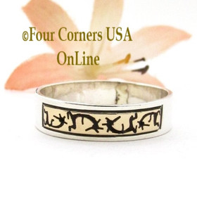 Size 11 14K Gold Sterling Kokopelli Native American Wedding Band Ring Peggy Skeets NAR-1882 Four Corners USA OnLine Navajo Silver Jewelry