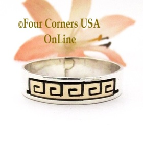 Size 12 1/4 14K Gold Sterling Silver Spiral Band Ring Navajo Peggy Skeets NAR-1884 Four Corners USA OnLine Native American Jewelry