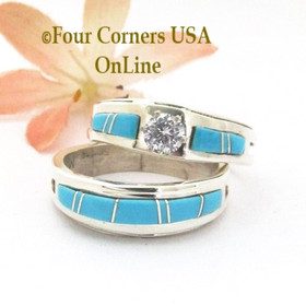 Size 10 1/2 Turquoise Engagement Bridal Wedding Ring Set Navajo Wilbert Muskett Jr WS-1679 Four Corners USA OnLine Native American Jewelry
