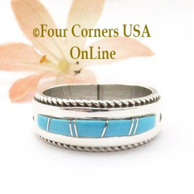 Size 10 Turquoise Inlay Rope Band Ring Navajo Wilbert Muskett Jr WB-1784 Four Corners USA OnLine Native American Jewelry