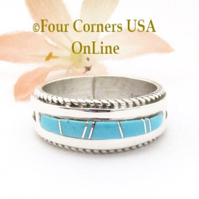 Size 10 1/2 Turquoise Inlay Rope Band Ring Navajo Wilbert Muskett Jr WB-1785 Four Corners USA OnLine Native American Jewelry