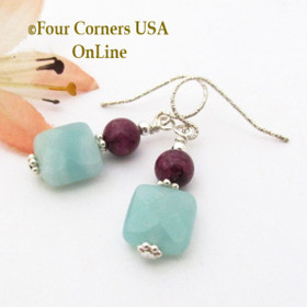 Amazonite Purple Fossil Coral Sterling Silver Dangle Pierced Earrings FCE-1601 Four Corners USA OnLine Artisan Handcrafted Jewelry
