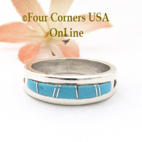 Size 11 Turquoise Inlay Straight Edge Band Ring Navajo Wilbert Muskett Jr WB-1788 Four Corners USA OnLine Native American Silver Jewelry