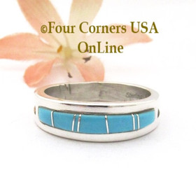 Size 11 1/2 Turquoise Inlay Straight Edge Band Ring Navajo Wilbert Muskett Jr WB-1789 Four Corners USA OnLine Native American Silver Jewelry