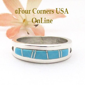 Size 12 Turquoise Inlay Straight Edge Band Ring Navajo Wilbert Muskett Jr WB-1790 Four Corners USA OnLine Native American Silver Jewelry