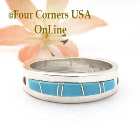 Size 12 1/2 Turquoise Inlay Straight Edge Band Ring Navajo Wilbert Muskett Jr WB-1791 Four Corners USA OnLine Native American Silver Jewelry