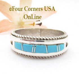Size 13 1/2 Turquoise Inlay Band Ring Twisted Wire Rope Accent Navajo Wilbert Muskett Jr WB-1795 Four Corners USA OnLine Native American Silver Jewelry