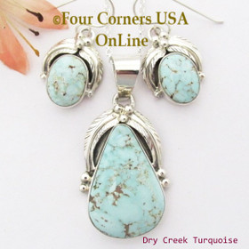 Dry Creek Turquoise Pendant Necklace Earring Jewelry Set Navajo Thomas Francisco NAN-1439 Four Corners USA OnLine Native American Jewelry