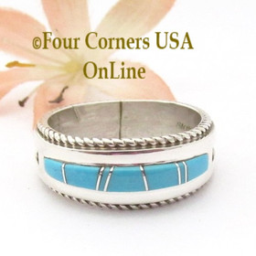 Size 11 Turquoise Inlay Ring with Twisted Wire Rope Accent Navajo Wilbert Muskett Jr WB-1808 Four Corners USA OnLine Native American Jewelry