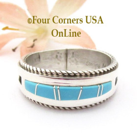 Size 12 Turquoise Inlay Ring with Twisted Wire Rope Accent Navajo Wilbert Muskett Jr WB-1810 Four Corners USA OnLine Native American Jewelry