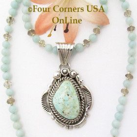 Dry Creek Turquoise Pendant by Navajo Harry Spencer with 19 Inch Amazonite Bead Necklace Four Corners USA OnLine Jewelry NAP-1571BDS