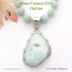 Dry Creek Turquoise Pendant 18 to 20 Inch Adjustable Bead Necklace Four Corners USA OnLine Native American Navajo Artisan Silver Jewelry NAP-1489BDS